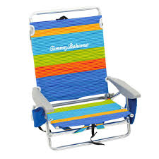 Tommy Bahama Striped Aluminum And Fabric 5-Position Lay Flat Backpack Beach  Chair