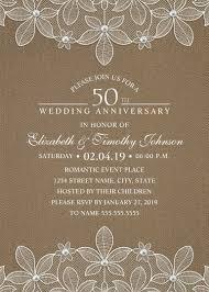Rustic Burlap 50th Wedding Anniversary Invitations