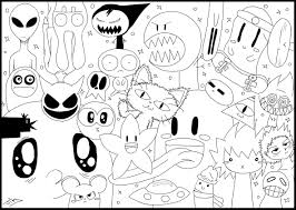 A Doodle Drawing With Funny Or Scary Monsters And Animals