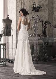 neckline keyhole back ivory lace mermaid sweep train wedding dress