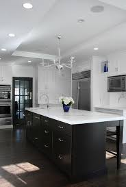 White Kitchen Cabinets With Espresso Island View Full Size