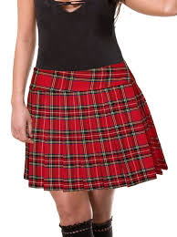 red schoolgirl tartan plaid pleated skirt junior long stewart at