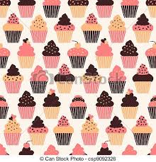 Cupcake Background Seamless Pattern With Cute Cupcakes