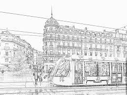 Funny Petit Tram Avec Les Yeux Livre De Coloriage Vecteurs Libres