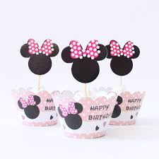 24pcs lot happy birthday minnie cupcake wrappers toppers for