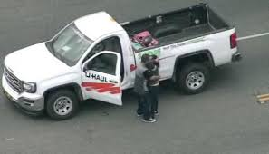 U-Haul Pursuit Ends With A Kiss And Hug After Standoff - NBC ... Uhaul Truck Rental Reviews Good And Bad News Emerges From Cafes Fine Print Edmunds Cat All Day Four Ways To Crank Up Your Load Haul Productivity Moving Companies Comparison Performance Fuel Volvo Trucks Us 20 Lb Propane Tank With Gas Gauge Vs Diesel A Calculator My Thoughts How To Drive Hugeass Across Eight States Without 10 Foot Best Image Kusaboshicom Woman Arrested After Stolen Pursuit Ends In Produce