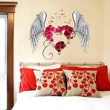 wallpark liebe herz rot blumen feder liebe flügel abnehmbare wandsticker wandtattoo wohnzimmer schlafzimmer haus dekoration klebstoff diy kunst