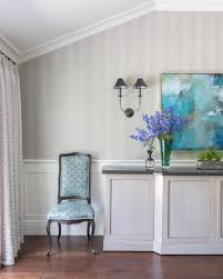 Dining Room Shot Showing Custom Buffet Striped Wallpaper And Window Treatments