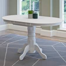 CorLiving Dillon White Wood Extendable Oval Pedestal Dining Table