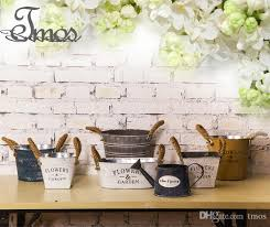 PACK Flower Pots Country Vintage Style Rustic Metal Garden Decor Bucket Centerpiece Vase