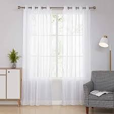 deconovo 2er set vorhang transparent gardinen wohnzimmer schlafzimmer ösenvorhang halbtransparent modern kurz 138x140 cm weiß stoff 138x140