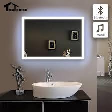 90 240 v gerahmte spiegel für bad led rahmen bad spiegel im badezimmer bluetooth beleuchtete piegel badkamer wand ip44 5070 6080