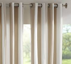 Sunbrella Curtains With Grommets by Sunbrella Awning Stripe Indoor Outdoor Grommet Drape Pottery Barn