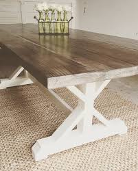 X Frame Farmhouse Table Stained In A Custom Weathered Stain With Heirloom White