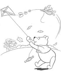 Pooh Playing Kite Coloring Pages