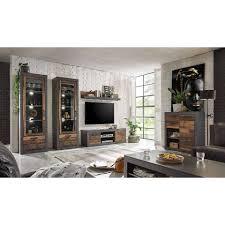 lomadox wohnwand berlin 61 3 tlg set im industrial design in mix dekor mit matera grau 2 vitrinen inkl led kommode und tv lowboard b h t