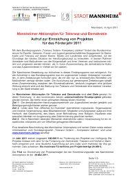 Kã Che 20000 Mannheimer Aktionsplan Ausschreibung 2011