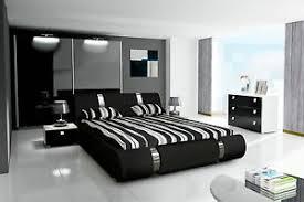 details zu komplett schlafzimmer set hochglanz schwarz kleiderschrank bett 2 x nachttisch