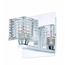 Home Depot Bathroom Sconces by Hampton Bay Olivet 1 Light Chrome Sconce With Cube Glass Shade