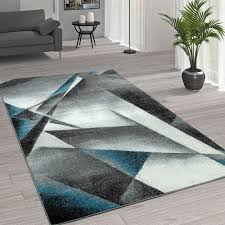 kurzflor wohnzimmer teppich moderne melierung geometrische muster grau türkis