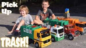 Garbage Truck Videos L 4 BIG TRASH TRUCKS Pick Up, Dump And CRASH L ...