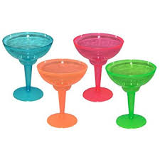 Party Essentials Hard Plastic Two Piece 12 Ounce Margarita Glasses Assorted Neon