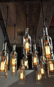 Oversized Reclaimed Wood Wine Bottle Chandelier