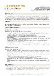 Sr Service Coordinator Resume Template
