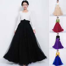 women tulle mesh full skirt elastic high waist 3 layers pleated