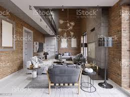 moderne zeitgenössische loft design wohnzimmer wohnunginterieur stockfoto und mehr bilder architektur