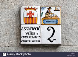 spain catalonia barcelona painted ceramic tiles sign