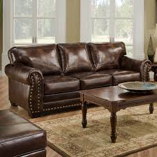 Broyhill Laramie Microfiber Sofa In Distressed Brown by Leather Sleeper Sofa Queen Size W Nailhead Trim Living Room