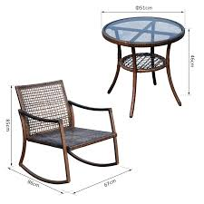 Outsunny 3 Pieces Rattan Wicker Rocking Chair Bistro Set Furniture ... 3piece Honey Brown Wicker Outdoor Patio Rocker Chairs End Table Rocking Luxury Home Design And Spring Haven Allweather Chair Shop Abbyson Gabriela Espresso On 3 Piece Set Rattan With Coffee Rockers Legacy White With Cushion Fniture Cheap Dark Find Deals On Hampton Bay Park Meadows Swivel Lounge