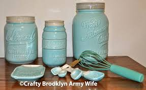 Mason Jar Kitchen Decor And Beautiful Set Blue Ceramic