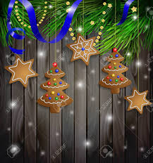 Gingerbread Cookies Decorations On A Christmas Tree With Ribbon Wooden Wall Stock Vector