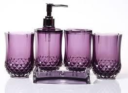 Purple Crackle Glass Bathroom Accessories by Purple Bathroom Sets Realie Org