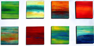 A Day At The Beach Original Abstract Painting On Wood Panels Wall Art