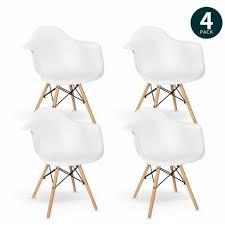 vadim 4er esszimmerstuhl retro stuhl beistelltisch mit solide buchenholz bein weiß