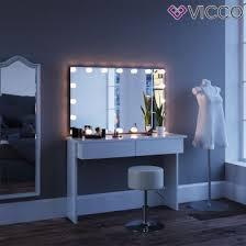schminktisch mit spiegel azur weiß mit led beleuchtung und hocker