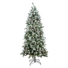 Pre Lit White Flocked Christmas Tree by Shop Northlight 7 Ft Pre Lit Mixed Needle Slim Flocked Artificial