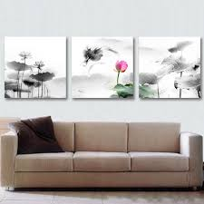 Framed 3 Panel Large Chinese Style Lotus Flower Painting Black And White Canvas Art Home Decor