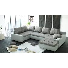 divan canapé canapé d angle panoramique 6 places joya gris et blanc pu achat