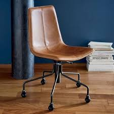 slope leather swivel office chair west elm pertaining to
