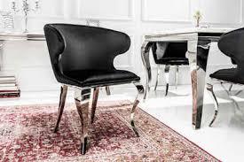 riess ambiente polsterstuhl modern barock ii schwarz mit samt bezug