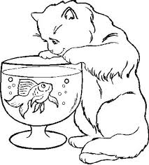Colouring Pages Of Fish Bowl Kitty Cat Trying To A In Coloring Page