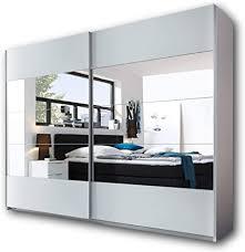 penta eleganter kleiderschrank mit viel stauraum vielseitiger schwebetürenschrank in weiß mit großem spiegel 270 x 210 x 60 cm b h t