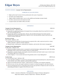 Resume For Customer Service