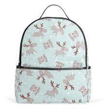 Amazoncom Christmas Elk School Backpack Canvas Rucksack Large