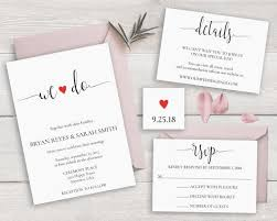 Calligraphy Wedding Invitation Set Template We Do Invitations Modern Invites Rustic Suite DIY