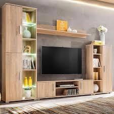 moderne tv wand einheit mit led leuchten sonoma eiche